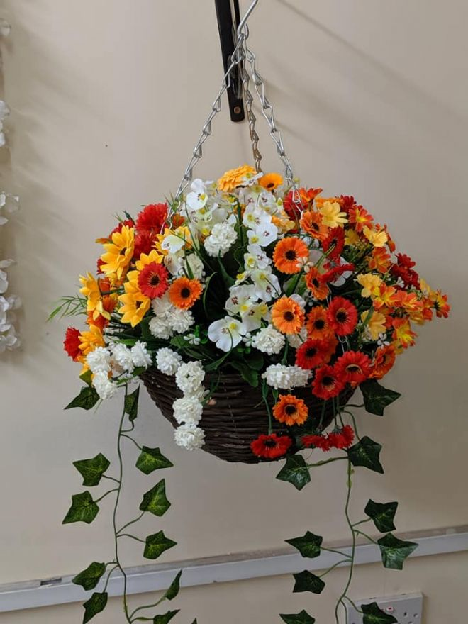 "Summer 2019 Artificial Hanging Basket 12"" with 14"" Flower Spread - Red, Yellow, Orange & White"
